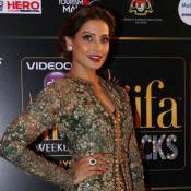 Bipasha Basu in Green Embroidery Long Lehenga Dress at IIFA 2015