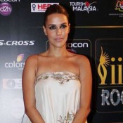 Neha Dhupia in White Strapless Floral Printed Gown Photos at IIFA 2015