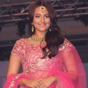 Sonakshi Sinha in Pink Lehenga Choli at BMW India Bridal Fashion Week 2015