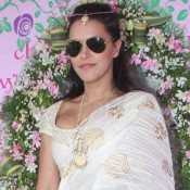 Neha Dhupia in White Gold Lehenga at Nishka Lulla and Dhruv Mehra Wedding Brunch Party