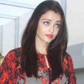 Aishwarya Rai Bachchan in Red Printed Top with Black Jeans at Nishka Lulla Wedding Brunch Party