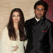 Aishwarya Rai in White Churidar Suit with Abhishek Bachchan at Asin Birthday Party