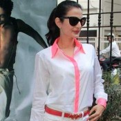 Amisha Patel in White Shorts with Full Sleeve Shirt Pics