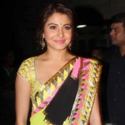 Anushka Sharma in Pink Yellow Black Multi Color Saree at Diwali 2013 Party of Aamir Khan
