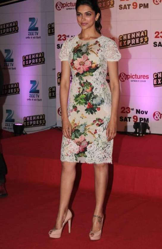 Deepika Padukone White Dress at Chennai Express Success ...