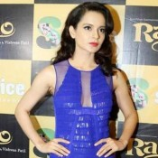 Kangana Ranaut in Short Blue Dress at Promotion of Rajjo Movie