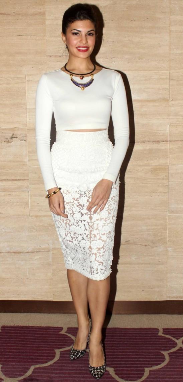 Jacqueline Fernandez Hot Legs Photos in White Short Skirt – See ...