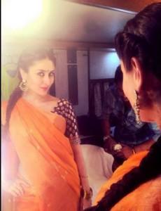 Kareena Kapoor in Orange Saree Green Sleeve Blouse in Bajrangi Bhaijaan Movie 2015