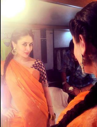 Kareena Kapoor in Orange Saree Green Sleeve Blouse in ...