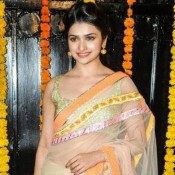 Prachi Desai Hot Navel Pics in Transparent Saree at Diwali Bash 2013