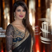 Priyanka Chopra in Black Saree Pics – Hot Cleavage Photos in Transparent Saree
