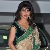 Priyanka Chopra in Golden Green Saree at Aamir Khan Diwali Celebration 2013