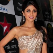 Shilpa Shetty in Peach Pink Saree Gown Photos at Nach Baliye 6