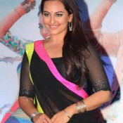 Sonakshi Sinha in Black Saree at Music Launch of Rambo Rajkumar Mumbai