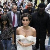 Sonam Kapoor Cleavage Pics – Hot Images Bold Photos of Deep Cleavages in White Off Shoulder Short Gown