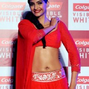 Sonam Kapoor Hot Navel Show Pictures Bold Photos in Red Lehenga