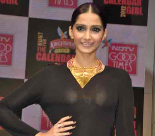 Sonam Kapoor See Through Dress Hot Photos In Black Transparent