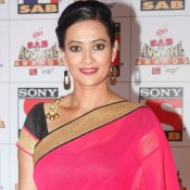 Jasveer Kaur in Pink Black Saree Blouse at Sab Ke Anokhe Awards 2015