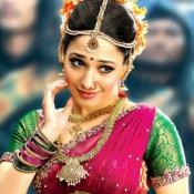 Tamanna Bhatia in Pink Green Lehenga Saree Blouse in Bahubali Hindi Movie
