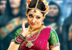 Tamanna Bhatia in Pink Green Lehenga Saree Blouse in Bahubali Hindi Movie