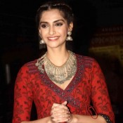 Sonam Kapoor in Red Printed Anarkali Dress at Aisa Yeh Jahaan Movie Screening