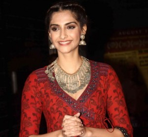 Sonam Kapoor in Red Printed Anarkali Dress at Aisa Yeh Jahaan Movie Screening