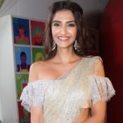 Sonam Kapoor in Cream Transparent Saree off Shoulder Blouse at Style Loft Launch in Delhi