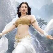 Tamanna Bhatia Navel in Bahubali Hindi Movie – Half White Lehenga Golden Blouse Photos 2015