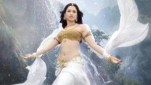 Tamanna Bhatia Navel in Bahubali Hindi Movie – Half White Lehenga Golden Blouse Photos 2015