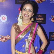 Music Launch of Marathi Film Dholki – Manasi Naik Hot Navel in Blue Transparent Saree