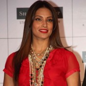 Bipasha Basu in Red Short One Piece Photos 2015 at Launched Shopper's Stop Collection