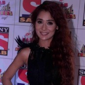 Sara Khan in Black Transparent Gown at Sab Ke Anokhe Awards 2015