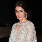 Genelia D'Souza in Sky Blue Transparent Anarkali with Churidaar Look at Sahid Kapoor Reception Party