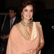 Dia Mirza in Peach High Neck Anarkali Suits at Sahid Kapoor and Mira Rajput Wedding Reception