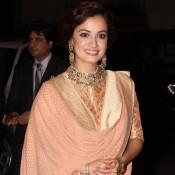 Dia Mirza in Peach High Neck Anarkali Suits at Sahid Kapoor and Mira Rajput Wedding Reception