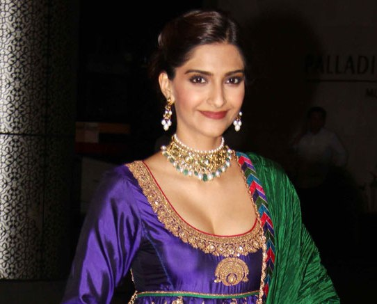 Sonam Kapoor in Blue Deep Neck Anarklai Dress at Sahid Kapoor and Mira Rajput Wedding Reception