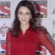 Saumya Tandon in Red Maroon Short One Piece Dress at Sab Se Anokhe Awards 2015