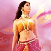 Tamanna Bhatia in Pink Yellow Lehenga with Off Shoulder Blouse in Bahubali Hindi Movie