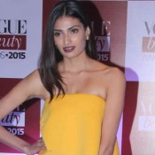 Athiya Shetty in Yellow Off Shoulder Gown at Vogue Beauty Awards 2015