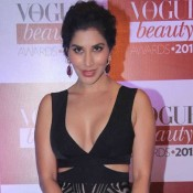 Sophie Choudry in Black Front Open Gown at Vogue Beauty Awards 2015