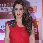 Pria Kataria Puri in Red One Shoulder Gown at Vogue Beauty Awards 2015