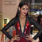 Sonal Chauhan in Black Maroon Front Open Gown at South Indian International Movie Awards 2015