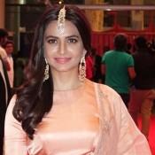 Kriti Kharbanda in Peach Lehenga Choli at South Indian International Movie Awards 2015