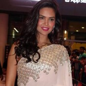 Esha Gupta in Pink Saree Photos at South Indian International Movie Awards 2015