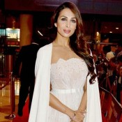 Malaika Arora Khan in White Off Shoulder Gown at South Indian International Awards 2015