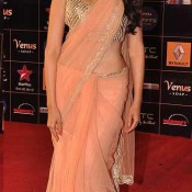 Aditi Rao Hydari In Transparent Peach Saree At Star Guild Awards 2013