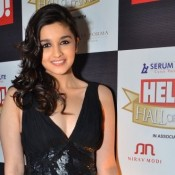 Alia Bhatt in Black Evening Gown at the Hello!Hall of Fame Awards 2012