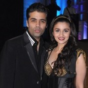 Alia Bhatt in Stardust Awards 2013 at Mumbai with Karan Johar