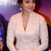 Anushka Sharma Hot Cleavage Pics in White Gown at Yash Chopra Memorial Award