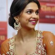 Deepika Padukone in Orange Anarkali Dress during Promotion of RAM LEELA Movie at Ahmedabad